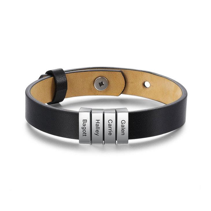 Engraved Mens Leather Bracelets