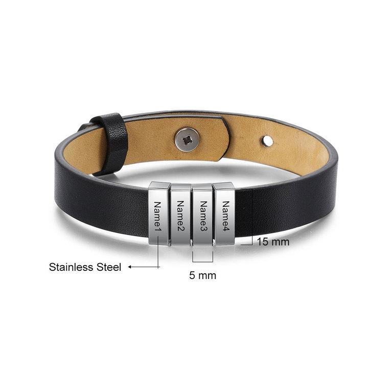 Engraved Mens Leather Bracelets - Information