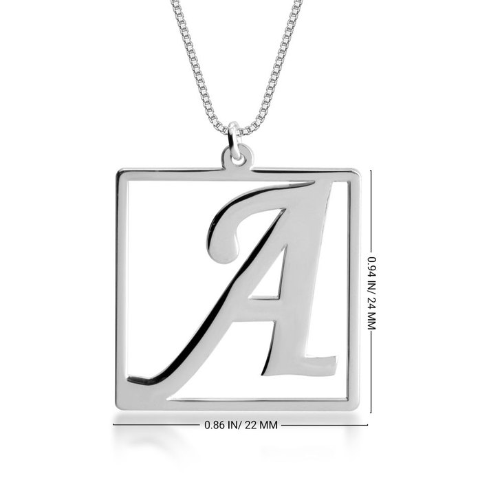 Cube Shape Initial Necklace - Information