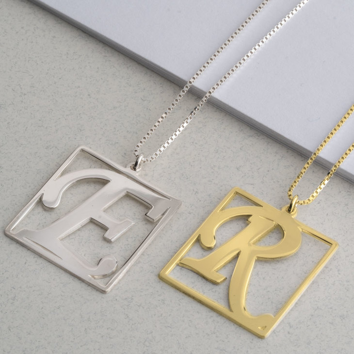 Cube Shape Initial Necklace - Model