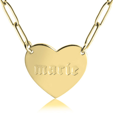 Paperclip Chain Necklace with Engraved Heart
