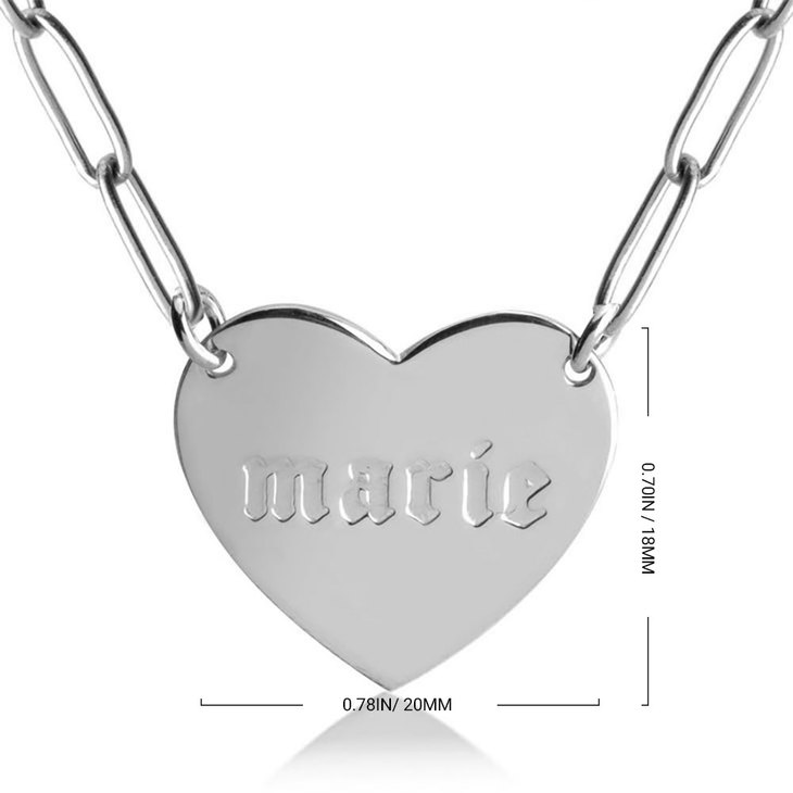 Paperclip Chain Necklace with Engraved Heart - Information