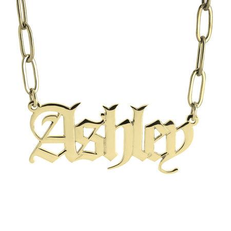 Collar de Cadena de Eslabones con Nombre Estilo Inglés Antiguo