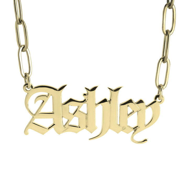 Paperclip Chain Old English Name Necklace