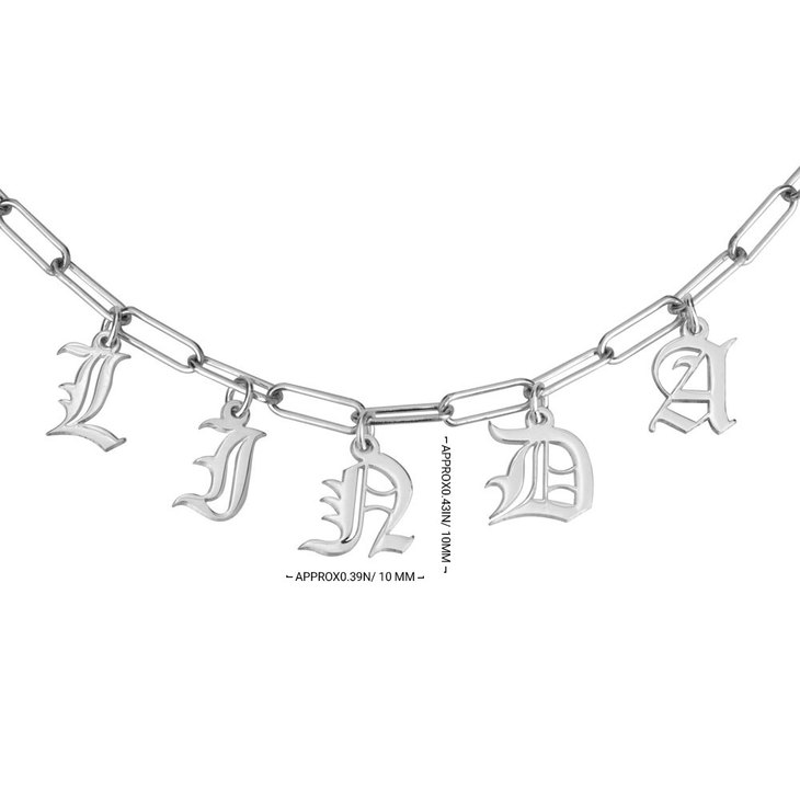 Paperclip Charm Name Necklace - Information