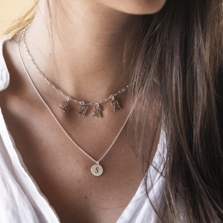 Paperclip Charm Name Necklace - Model