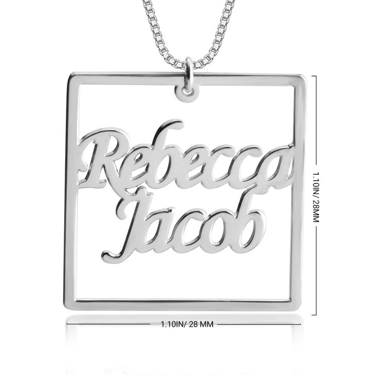 Couple Cube Shape Personalized Necklace - Information