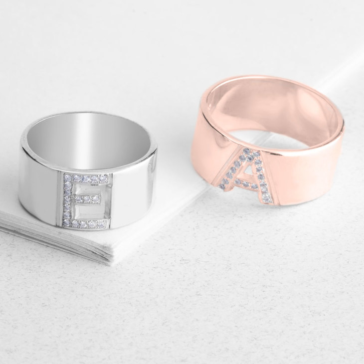 Initial Ring with Cubic Zircon Letter - Model