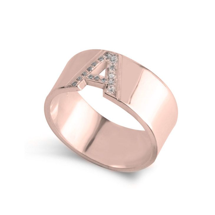 Initial Ring with Cubic Zircon Letter