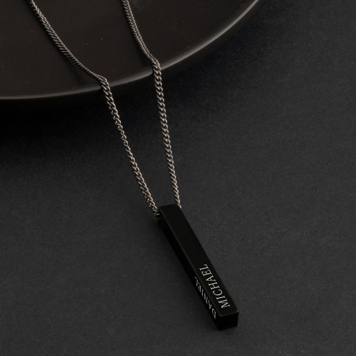Black 3D Bar Name Necklace For Men - Picture 2