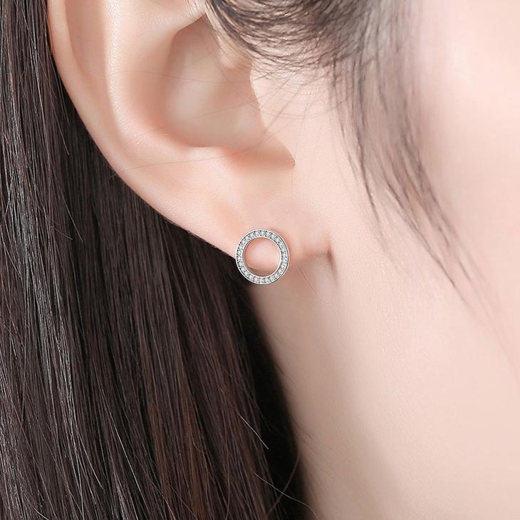 Loop Cubic Zirconia Earrings - Model