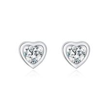 Aretes de Corazón Diamante Zirconia Cúbica