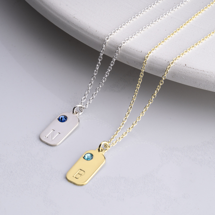 Initial Birthstone Necklace - Model