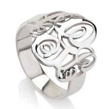 Sterling Silver Interlocking Three Initials Monogram Ring