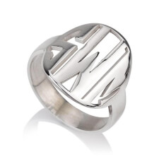 Sterling Silver Cut Out Made Monogram Ring