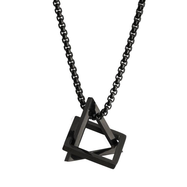 Black 3D Pendant Men's Necklace