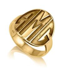 24K Gold Plated Sparkling Capital Font Monogram Ring