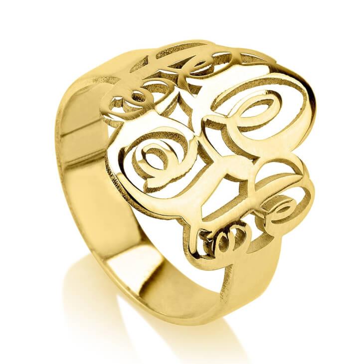 24K Gold Plated Interlocking Three Initials Monogram Ring