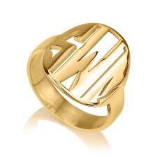 24K Gold Plated Cut Out Made Monogram Ring