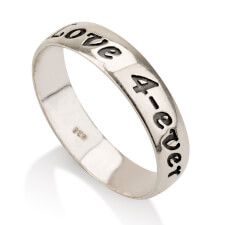 Sterling Silver Print Font Name Ring