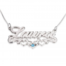 Sterling Silver Hearts Name Necklace