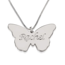 Sterling Silver Butterfly Pendant with Engrave Name