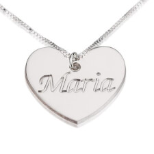 Sterling Silver Heart Pendant with Engraved Name