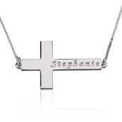 Sterling Silver Sideways Cross Necklace with Name