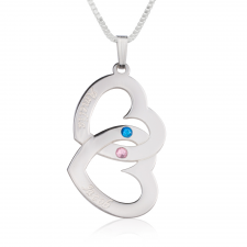Sterling Silver Two Hearts Swarovski Crystal with Two Names