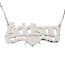 Bold Print with Heart Name Necklace