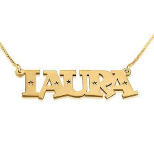 24K Gold Plated Stars Name Necklace
