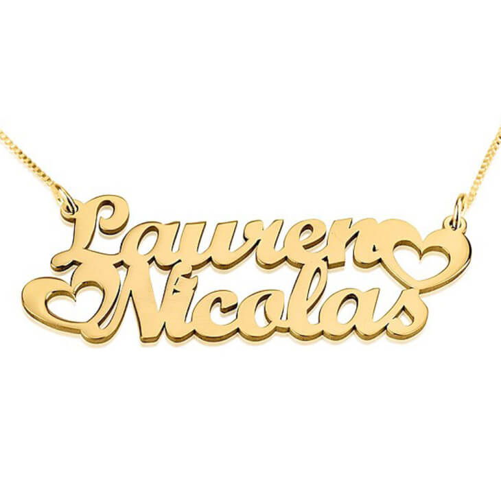 24K Gold Plated Two Names Necklace with Hearts