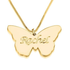 24K Gold Plated Butterfly Pendant with Name
