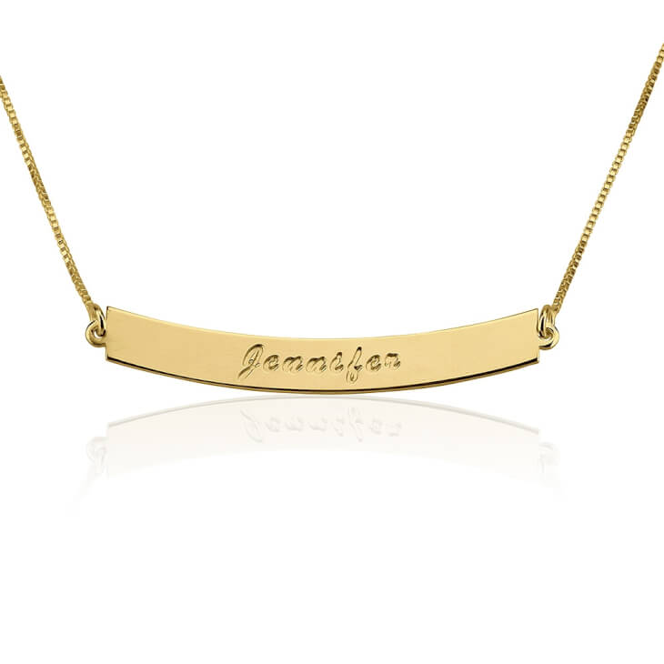 24K Gold Plated Curved Bar Necklace with Name