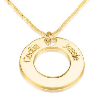 24K Gold Plated Circle Necklace with Two Names