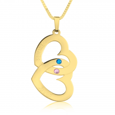 24K Gold Plated Two Hearts Swarovski Crystal with Two Names