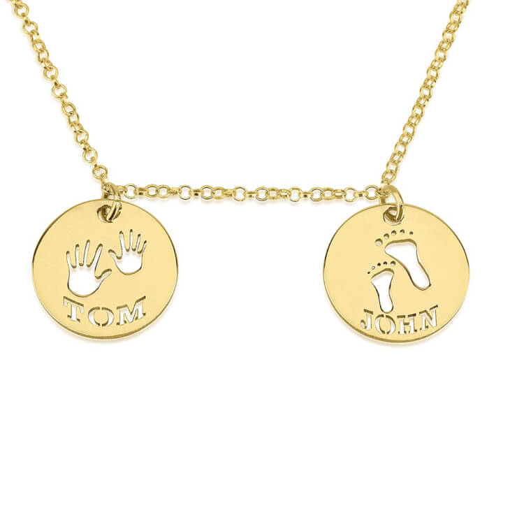 24K Gold Plated Two Circle Necklace with Cut Out Names
