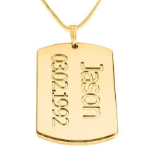 24K Gold Plated Dog Tag Plate with Name and Date