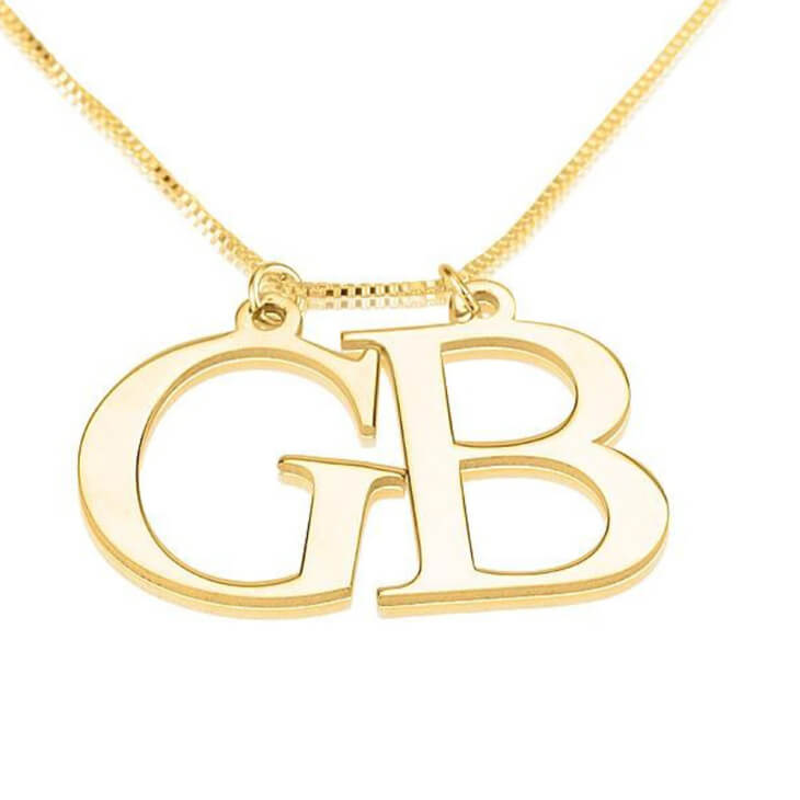 24K Gold Plated Two Initial Necklace