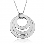 Sterling Silver Engraved Rings Mother Necklace