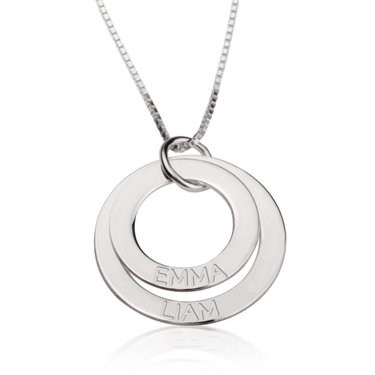 Sterling Silver Engraved Rings Mother Necklace  - Picture 2