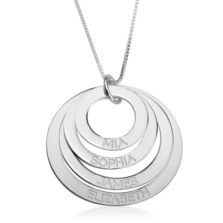 Sterling Silver Engraved Rings Mother Necklace  - Picture 3