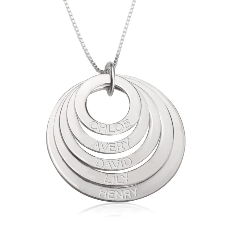 Sterling Silver Engraved Rings Mother Necklace  - Picture 4