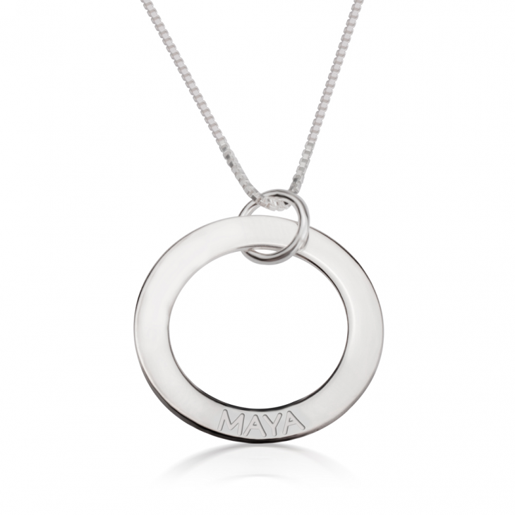Sterling Silver Engraved Rings Mother Necklace  - Picture 5