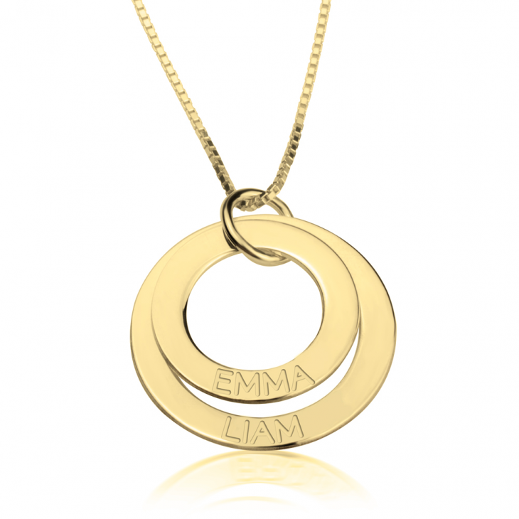 24K Gold Plated Engraved Rings Mother Necklace  - Picture 2