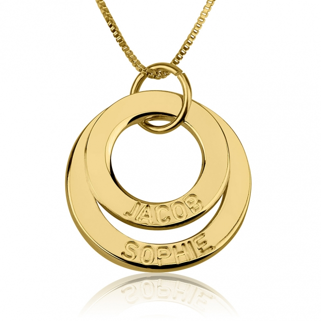 24K Gold Plated Engraved Rings Mother Necklace