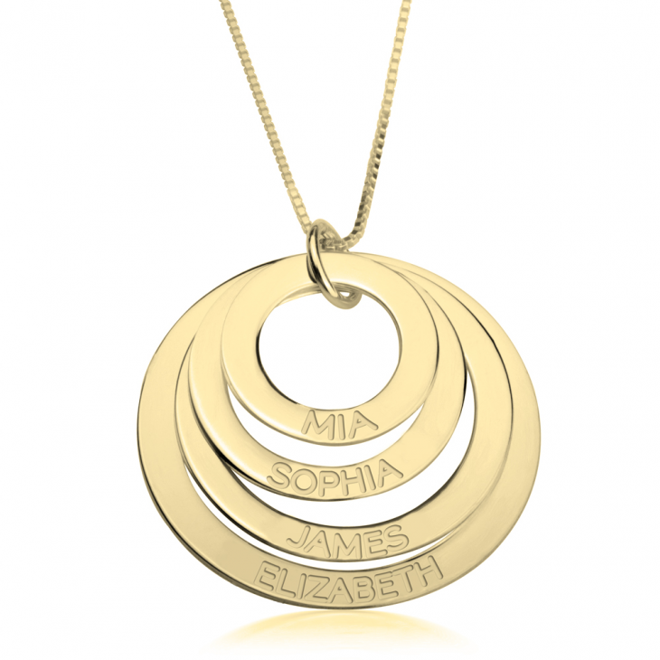 24K Gold Plated Engraved Rings Mother Necklace  - Picture 3