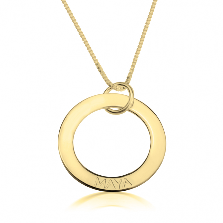 24K Gold Plated Engraved Rings Mother Necklace  - Picture 5