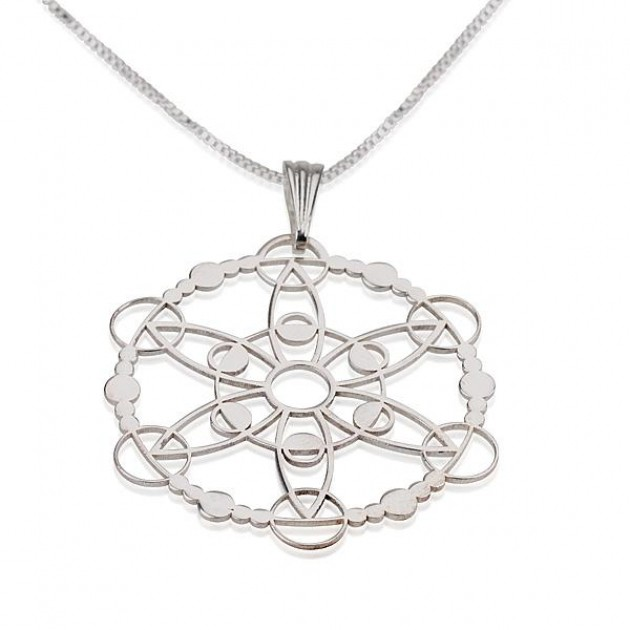 Sterling Silver Crop Circle Outgoing Circle Necklace