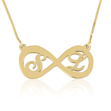 24K Gold Plated Two Letters Infinity Necklace